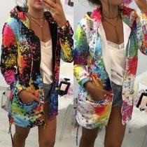 Fashion Long Sleeve Hooded Colorful Printed Coat