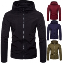 Fashion Solid Color Long Sleeve Hooded Men's Jacket