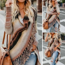 Fashion Long Sleeve Irregular Hem Tassel Striped Shawl Cardigan