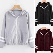 Fashion Striped Spliced Long Sleeve Hooded Sweatshirt Coat