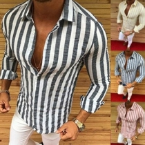 Fashion Long Sleeve POLO Collar Men's Striped Shirt