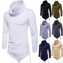 Fashion Solid Color High Neck Irregular Hem Long Sleeve Men's T-shirt