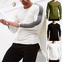 Fashion Contrast Color Long Sleeve Round Neck Men's T-shirt