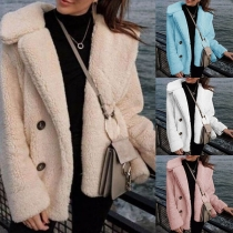 Fashion Solid Color Long Sleeve Lapel Collar Slim Fit Cardigan Coat