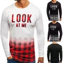 Fashion Color Gradient Long Sleeve Round Neck Men's Plaid T-shirt