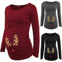 Cute Antlers Printed Long Sleeve Round Neck Maternity T-shirt