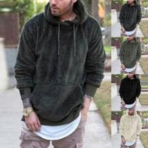 Fashion Solid Color Long Sleeve Kangeroo's Pocket Men's Hooded Sweatshirt