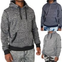 Fashion Solid Color Long Sleeve Kangeroo's Pocket Men's Sweatershirt