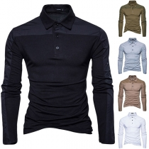 Fashion Contrast Color Long Sleeve POLO Collar Men's T-shirt