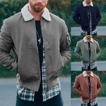 Fashion Long Sleeve Faux Cashmere Spliced POLO Collar Men's Jacket