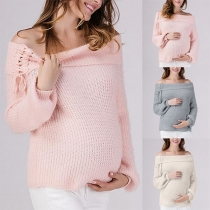 Sexy Lace-up Boat Neck Long Sleeve Solid Color Maternity Sweater