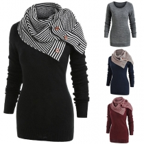 Fashion Solid Color Long Sleeve Round Neck Sweater