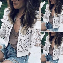 Fashion Solid Color Long Sleeve Hollow Out Lace Thin Coat