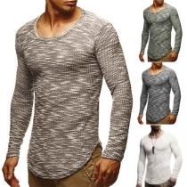 Fashion Mixed Color Long Sleeve Round Neck Arc Hem Men's T-shirt
