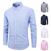 Simple Style Long Sleeve POLO Collar Solid Color Men's Shirt