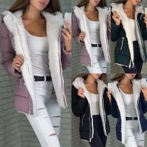 Fashion Long Sleeve Plush Lining Hooded Padded Coat