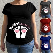 Cute Footprint Printed Short Sleeve Round Neck Maternity T-shirt