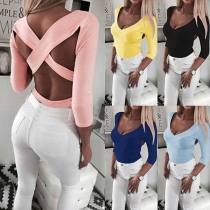 Sexy Crossover Backless V-neck Solid Color Slim Fit T-shirt