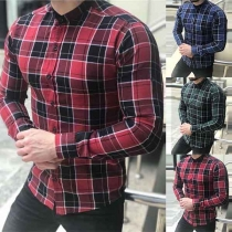 Fashion Contrast Color Long Sleeve Single-breasted Plaid Men's Shirt