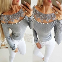 Sexy See-through Lace Spliced Boat Neck Long Sleeve Beaded T-shirt