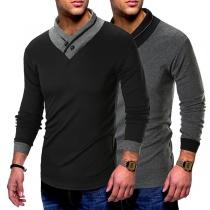 Fashion V-neck Contrast Color Long Sleeve Slim Fit Men's Shirt