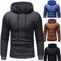 Fashion Solid Color Long Sleeve Slim Fit Men's Hoodie