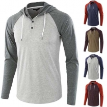 Fashion Contrast Color Long Sleeve Hooded Men's T-shirt