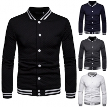 Fashion Contrast Color Long Sleeve Slim Fit Single-breasted Men's Jacket