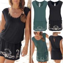 Fashion Sleeveless Round Neck Elastic Waist Printed Dress