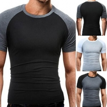 Fashion Contrast Color Short Sleeve Round Neck Men's T-shirt