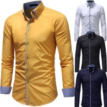 Fashion Plaid Spliced Long Sleeve POLO Collar Men's Shirt