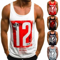 Fashion Printed Round Neck Men's Sports Tank Top