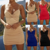 Sexy Backless V-neck Solid Color Twisted Sling Dress