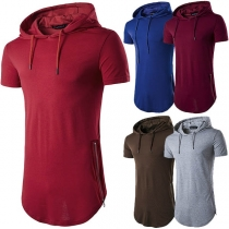 Fashion Solid Color Short Sleeve Hooded Men's T-shirt