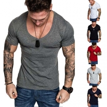 Simple Style Short Sleeve V-neck Men's T-shirt