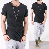 Fashion Solid Color Short Sleeve Round Neck Men's Casual T-shirt