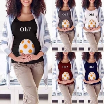 Cute Printed Short Sleeve Round Neck Maternity T-shirt