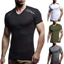 Fashion Contrast Color Short Sleeve V-neck Men's T-shirt '