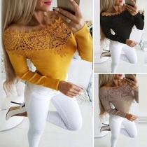 Sexy Lace Spliced Boat Neck Long Sleeve Slim Fit T-shirt