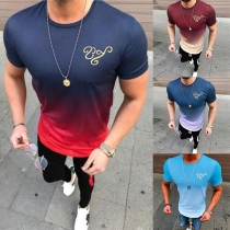 Fashion Color Gradient Short Sleeve Round Neck Men's T-shirt