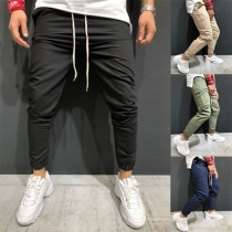 Fashion Solid Color Drawstring Waist Men's Pants