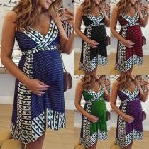 Sexy Backless V-neck Printed Sling Maternity Dress