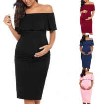 Sexy Ruffle Boat Neck Solid Color Slim Fit Maternity Dress