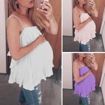 Sexy Backless Ruffle Hem Solid Color Cami Top for Pregnant Women