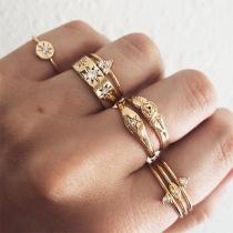 Fashion Rhinestone Inlaid Alloy Ring Set 8 pcs/Set