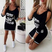 Sexy Off-shoulder 3/4 Sleeve Letters Printed Dress
