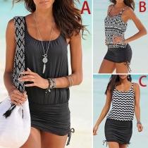 Fashion Printed Spliced Sleeveless Round Neck Beach Dress