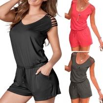 Fashion Solid Color Sleeveless Round Neck Drawstring Waist Romper