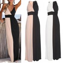 Sexy V-neck Sleeveless High Waist Contrast Color Dress