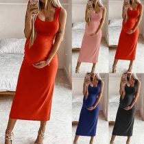 Simple Style Solid Color Round Neck Maternity Dress